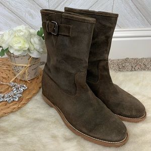 J. Crew Langston Deep Green Leather Boots Size 6